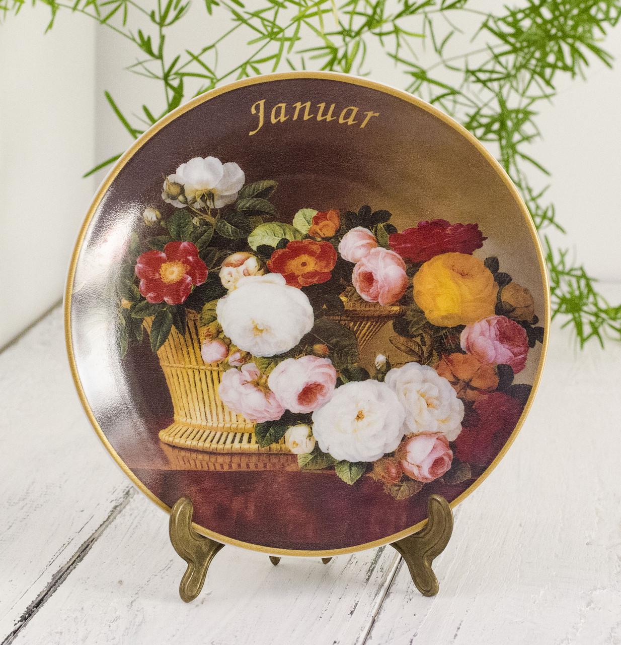 Коллекционная фарфоровая тарелка Январь, фарфор, König Porzellan, Германия, 1998 год