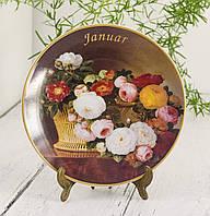 Коллекционная фарфоровая тарелка Январь, фарфор, König Porzellan, Германия, 1998 год, фото 1