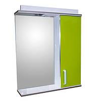 Дзеркало 60 для ванної кімнати з підсвічуванням і шафою Дебют Перфект канарейка