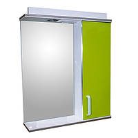 Зеркало для ванной комнаты с подсветкой и шкафчиком Дебют Перфект 60 канарейка