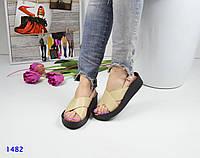 Женские босоножки из натуральной кожи, бежевые / летние босоножки женские, модные