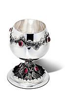 Бокал серебряный для коньяка с орнаментом и камнями Гранат
