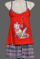 """Летняя пижама женская """"Кошка"""" комплект домашний майка и шорты хлопок Турция"""