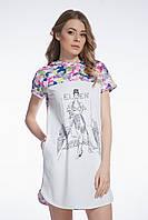 Сорочка нічна жіноча в метелики з капюшоном , для сну, 95% хлопок, ELLEN, LND 027/001
