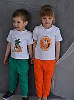 Потрясающий детский летний костюм для мальчика и девочки (футболка с термопечатью) РАЗНЫЕ ЦВЕТА!