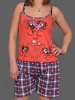 """Летняя пижама женская """"Love"""" комплект домашний майка и шорты хлопок Турция"""