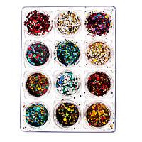 Набор конфетти для дизайна ногтей, 12 шт в контейнере , фото 1