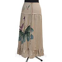 Бежевая длинная юбка с резинкой