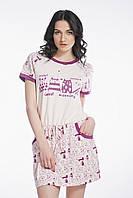 Сорочка нічна жіноча з малюнком котиків та карманами , для сну, 95% хлопок, ELLEN, LND 008/001