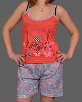 """Летняя пижама женская """"Бабочка"""" комплект домашний майка и шорты хлопок Турция"""