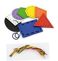 """Шнуровка Viga Toys """" Формы"""" (50538VG), детская развивающая игра шнуровка, шнуровка геометрические фигуры"""