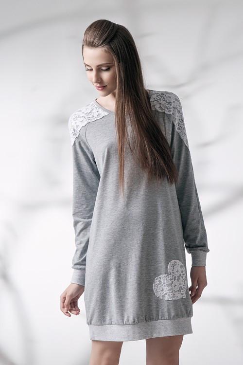 Сорочка нічна жіноча сірого відтінку із світлим мереживом, для сну, 95% хлопок, ELLEN, LND 087/001
