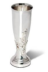 Бокал серебряный для напитков цветочный узор