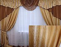 Комплект ламбрекен (№50) с шторами на карниз 2,5-3м. 050лш046