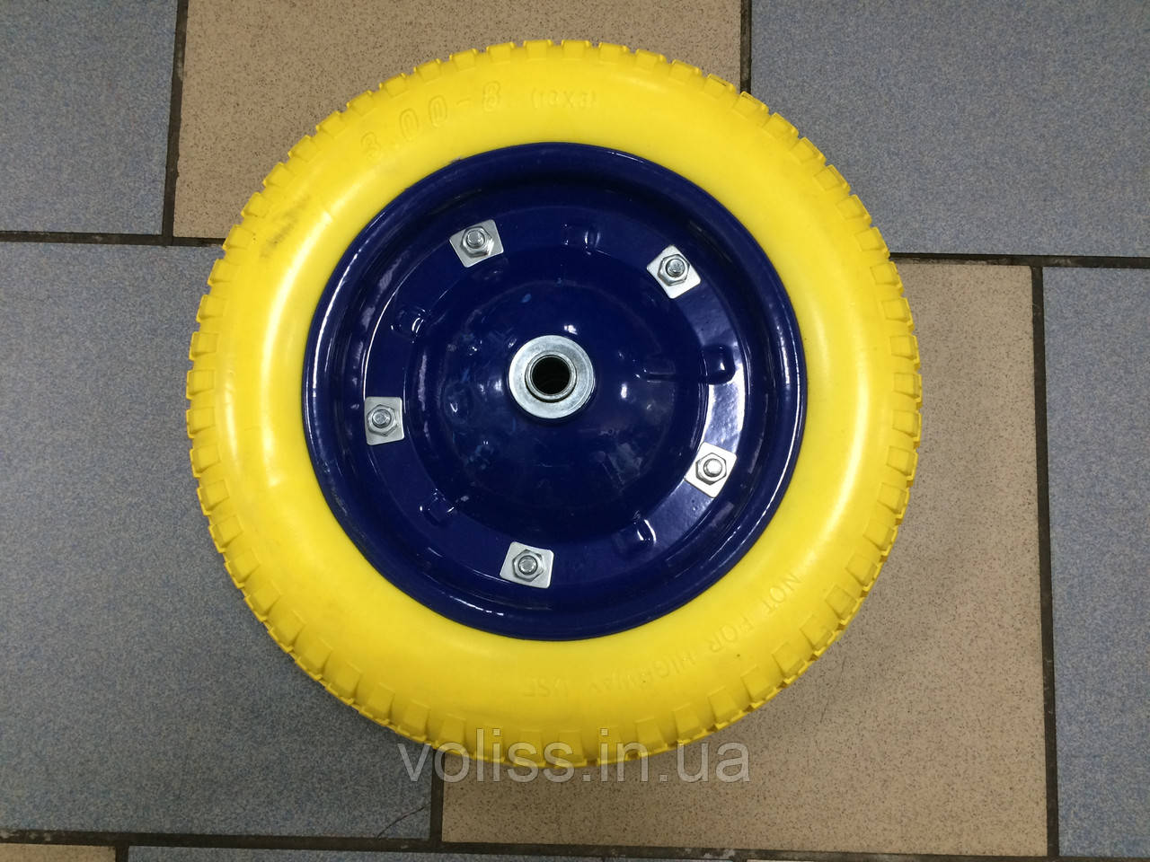 Колесо к тачке безкамерное полиуретановое (пенорезина) 3.00-8