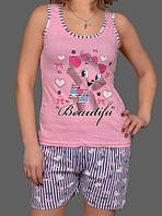 """Летняя пижама женская """"Китти"""" комплект домашний майка и шорты хлопок Турция"""