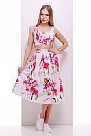 Женский костюм летний юбка и топ с цветочным принтом