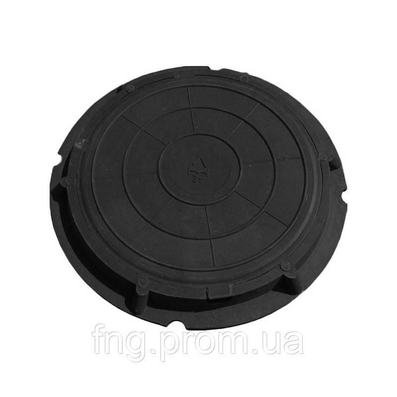 Люк тяжелый канализационный полимерпесчаный С250, черный (РА)