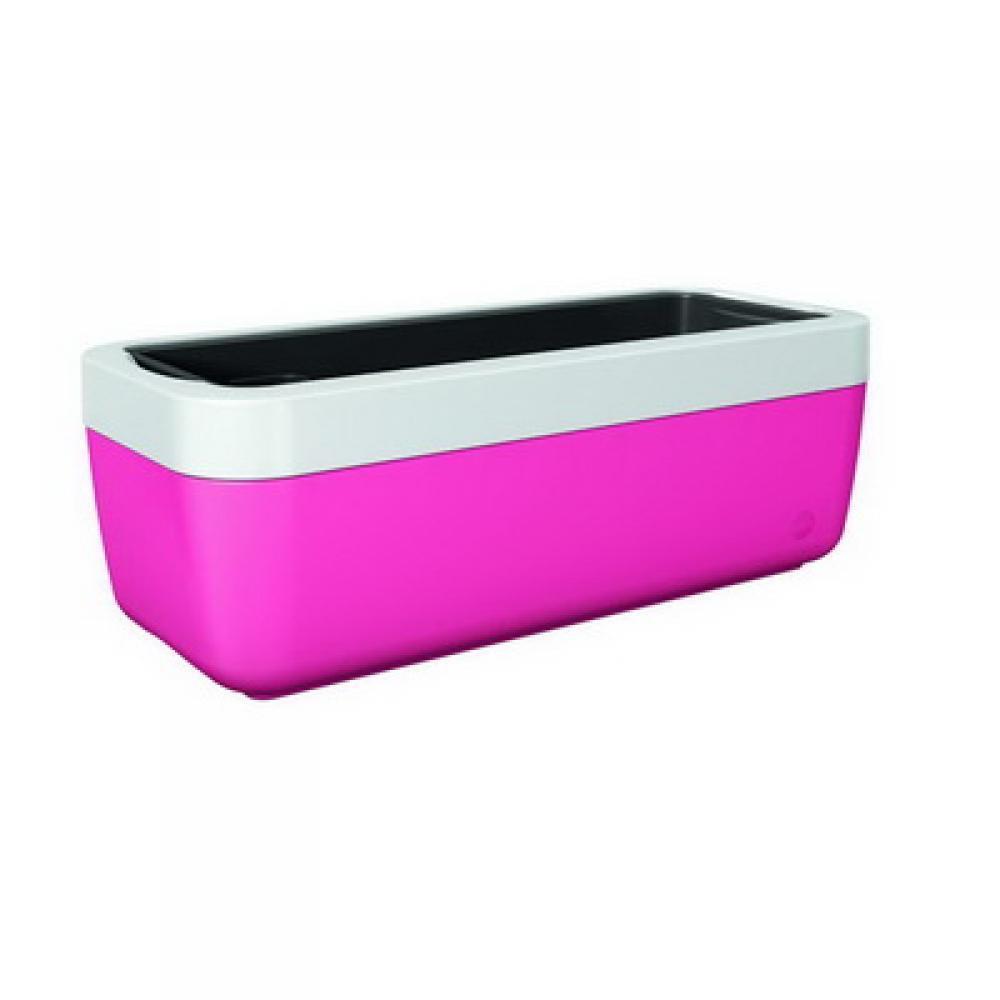Цветочный оконный горшок MYBOX 75 см. (Белый/Розовый)