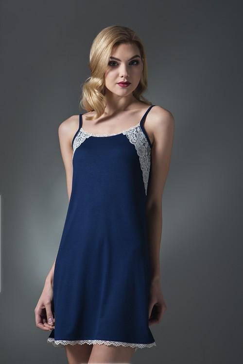 Сорочка нічна жіноча на бретелях в темно-синьому кольорі із серії віскоза  для сну af0ac94ce9b65
