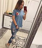 Женская стильная джинсовая рубашка с вышивкой (2 цвета), фото 3