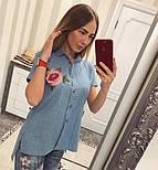 Женская стильная джинсовая рубашка с вышивкой (2 цвета), фото 4