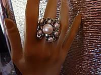 Роскошное кольцо с натуральным жемчугом и эмалью