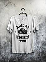 Белая мужская футболка Adidas Boxing с принтом