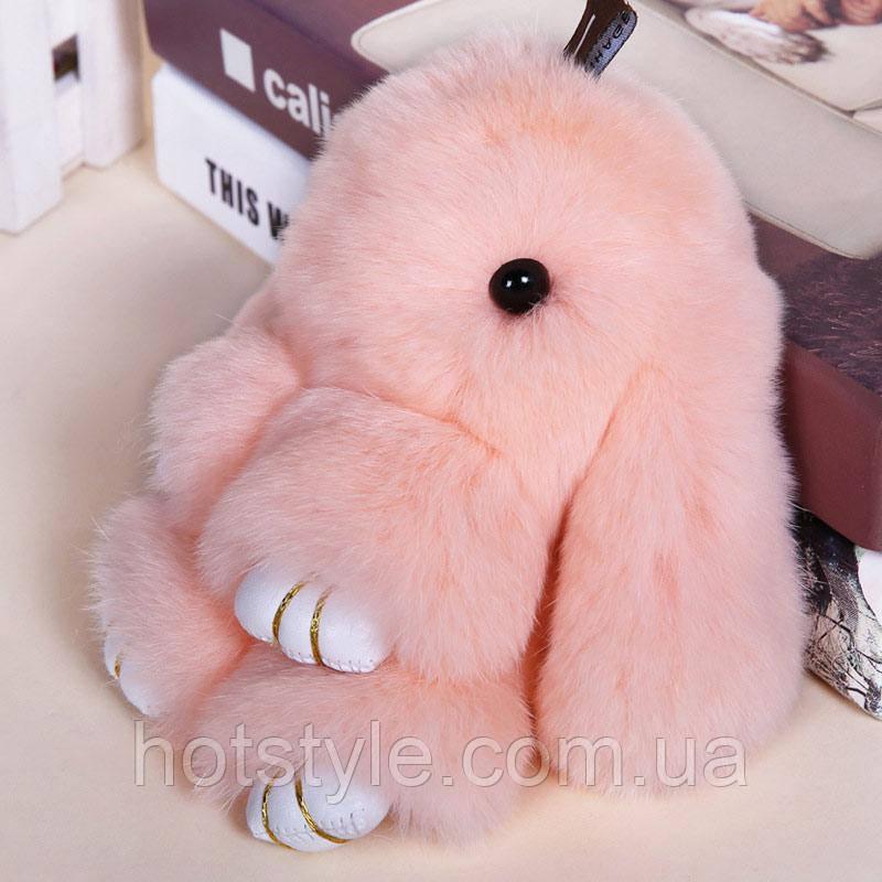 Пушистый кролик-брелок, натуральный мех, персиковый, 18 см