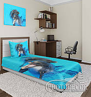 """Фото покрывало """"Дельфины"""" (1,5м*1,1м)"""