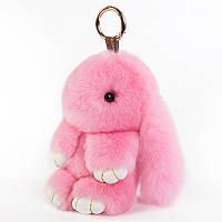 Пушистый кролик-брелок, натуральный мех, розовый, 13 см