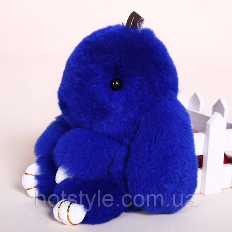 Пушистый кролик-брелок, натуральный мех, синий, 13 см
