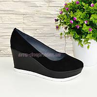 """Женские черные замшевые туфли на устойчивой платформе. ТМ """"Maestro"""""""
