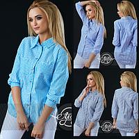 Легкая хлопковая рубашка в полосочку