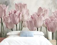 """3D фотообои """"Пудровые тюльпаны"""""""