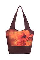 Коричневая женская сумка с цветами