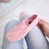 Кеды женские Вышивка розовые 3364 , обувь женская