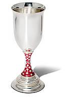 Серебряный винный бокал матовый с декорированной ножкой