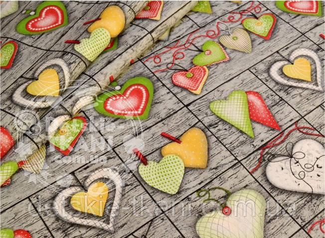 Отрез ткани №561 с зелёными сердцами на серых досках 62*160