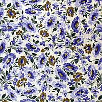 Отрез ткани, ситец, нежные фиолетово-сиреневые ромашки 292х86см