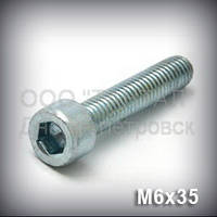 Винт М6х35 ГОСТ 11738-84 (DIN 912,ISO 4762,21269) оцинкованный с цилиндрической головкой под шестигранный ключ