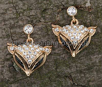 Милые серьги - лисички с кристаллами Swarovski, покрытые золотом (203350)