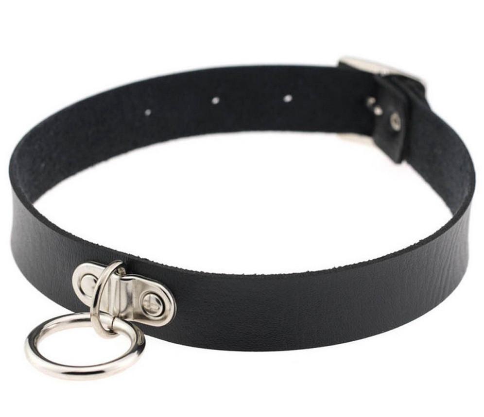 Кожаный чокер с кольцом черный