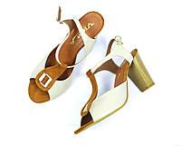 Босоножки бежевые женские кожаные VIOLA на устойчивом каблуке