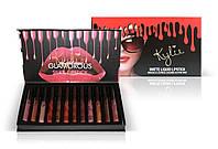 Набор жидких матовых помад Kylie Matte liquid Lipstick Rouge a Levres (черно-красная упаковка), 12 штук
