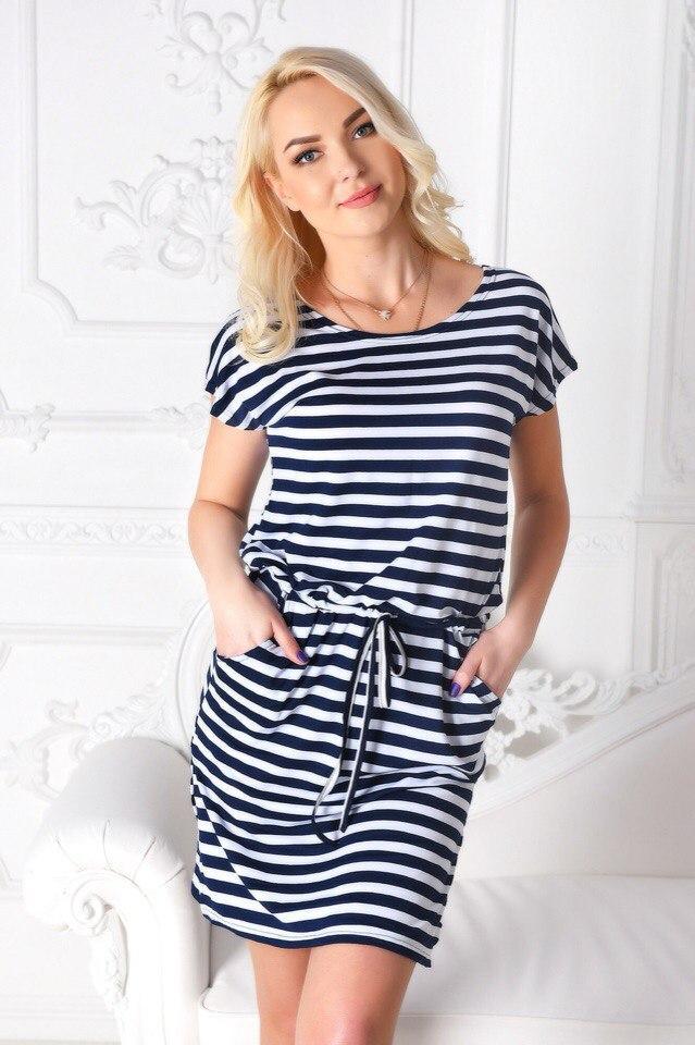 Платье-тельняшка «Элина»  Батал