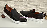 Мужские туфли-мокасины на плоской подошве, черного и коричневого цвета, фото 4