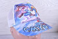 """Кепка детская """"Смурфики"""". Размер  52 см. Голубая+небесная сетка. Оптом."""