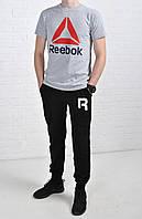 Летний комплект Reebok Crossfit серая футболка черные штаны