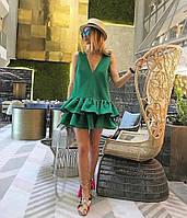 Платье летнее короткое , Ткань: стрейч - поплин Марсала, зеленый, супер качество ао №278-250